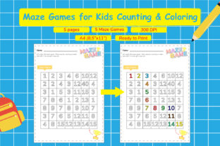 Maze Games for Kids Counting & Coloring Graphic Teaching Materials By Kids Zone