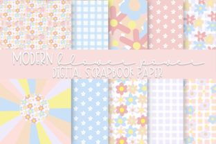 Print on Demand: Modern Flower Power Digital Paper Graphic Backgrounds By Fairways and Chalkboards