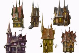 Print on Demand: Mystical Houses Clipart.Magic Moon. Graphic Illustrations By Marine Universe 2