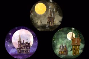 Print on Demand: Mystical Houses Clipart.Magic Moon. Graphic Illustrations By Marine Universe 4