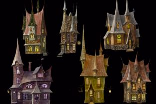 Print on Demand: Mystical Houses Clipart.Magic Moon. Graphic Illustrations By Marine Universe 5
