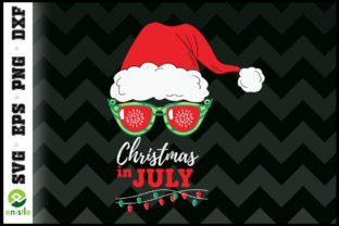 Print on Demand: Santa Hat Sunglasses Christmas in July Graphic Print Templates By Enistle