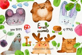 Print on Demand: Cute Cubic Forest Animals Watercolor Graphic Illustrations By CherrypearStudio