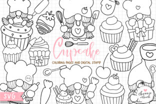 Print on Demand: Gnome Cupcake Coloring Pages, Gnome SVG Graphic Illustrations By Chonnieartwork