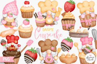 Print on Demand: Gnomes Cupcake Clipart Graphic Illustrations By Chonnieartwork