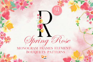 Print on Demand: Mini Bundle Spring Rose Watercolour Pack Graphic Illustrations By dmletter31