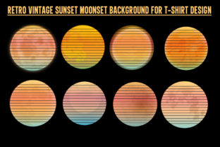 Print on Demand: Retro Vintage Sunset Moonset-Halloween Graphic Backgrounds By T-Shirt Tees