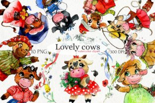 Print on Demand: Season Cute Cow Clipart Graphic Illustrations By CherrypearStudio