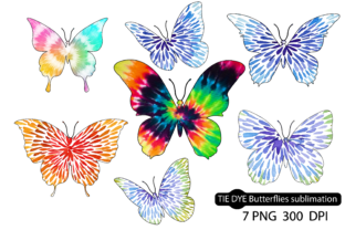 TIE DYE Butterflies,Tie Dye Sublimation Graphic Crafts By Dev Teching
