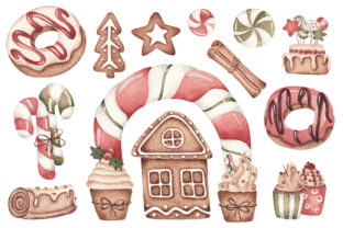 Print on Demand: Watercolor ClipArt - Christmas Bakery Graphic Illustrations By SirenaArt 2