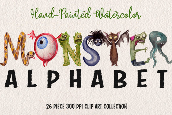 Watercolor Monster Alphabet Collection