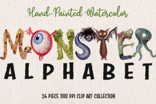 Watercolor Monster Alphabet Collection Graphic Illustrations By Dapper Dudell