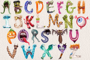 Watercolor Monster Alphabet Collection - 2