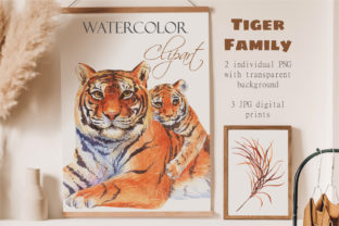 Watercolor Tigers Clipart Animal Family Graphic Illustrations By InnaKoteShop
