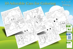 Print on Demand: 10 Adorable Cats for Coloring Graphic Coloring Pages & Books By Webmark