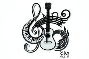 3D Layered Music Guitar Graphic 3D SVG By SteiDigital