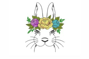 Bunny with Flowers Easter Embroidery Design By NinoEmbroidery