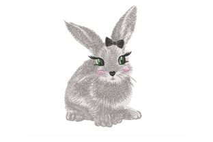 Bunny with a Bow Easter Embroidery Design By NinoEmbroidery