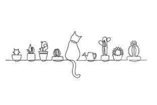 Print on Demand: Cactus and Cat Cats Embroidery Design By ArtEMByNatali