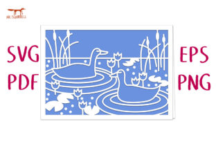 Duck Pond Greetings Card SVG Cut File Graphic 3D SVG By Nic Squirrell