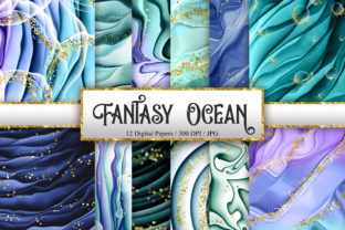 Print on Demand: Fantasy Ocean Digital Papers Graphic Backgrounds By PinkPearly