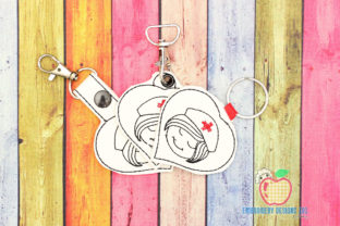 Female Nurse ITH Key Fob Pattern Work & Occupation Embroidery Design By embroiderydesigns101