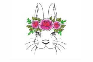 Floral Bunny Easter Embroidery Design By NinoEmbroidery