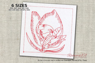 Frog Sitting on Flower Reptiles Embroidery Design By Redwork101