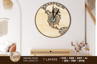 Print on Demand: MAP USA WATCH Multilayer Laser Cut Files Graphic 3D SVG By LaserCutano