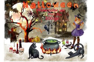 Print on Demand: Magic Clipart Watercolor,Witch Halloween Graphic Illustrations By Marine Universe