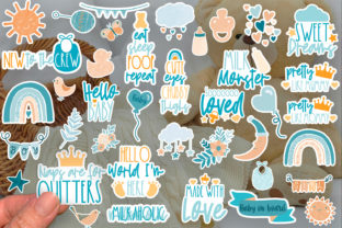 Print on Demand: New Baby Stickers PNG | Baby Stickers Graphic Crafts By illuztrate