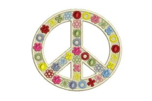 Peace Colorful Sign Inspirational Embroidery Design By Embroidery Designs