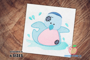 Penguin Playing in Water Marine Mammals Embroidery Design By embroiderydesigns101