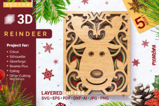Reindeer 3D Layered SVG Cut File Graphic Crafts By pixaroma