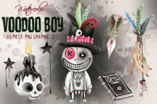 Voodoo Doll Boy Watercolor Clip Art Set Graphic Illustrations By Dapper Dudell 1