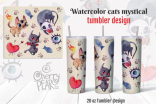 Print on Demand: Watercolor Cats Mystical Tumbler Design Graphic Tumblr By CherrypearStudio