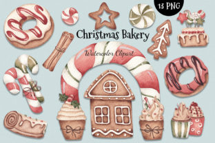 Print on Demand: Watercolor ClipArt - Christmas Bakery Graphic Illustrations By SirenaArt