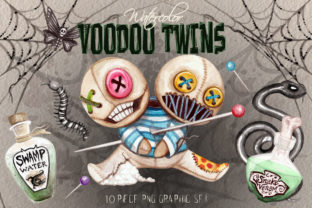 Watercolor Voodo Twins Clip Art Set Graphic Illustrations By Dapper Dudell 1