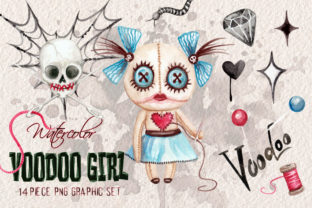 Watercolor Voodoo Girl Clip Art Elements Graphic Illustrations By Dapper Dudell 1