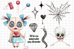 Watercolor Voodoo Girl Clip Art Elements Graphic Illustrations By Dapper Dudell 2