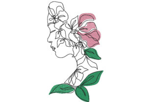 Woman with Flower Accents Fashion & Beauty Embroidery Design By Canada Crafts Studio