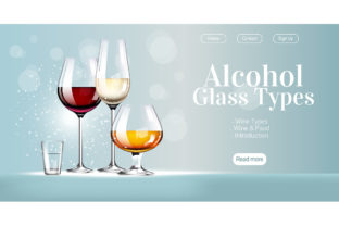 Print on Demand: Alcohol Glass Types Realistic Vector Graphic Landing Page Templates By natalia1891991