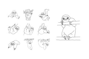 Print on Demand: Coloring Animal - Sloth Illustration Set Graphic Coloring Pages & Books By Arief Sapta Adjie