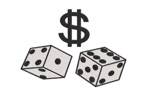 Dice and Money Sign Hobbies & Sports Embroidery Design By qpcarta