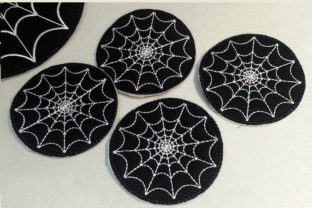 In the Hoop Spider Web Coasters Halloween Embroidery Design By Thread Treasures Embroidery