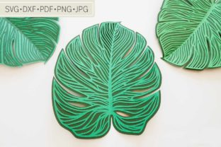 Intricate Monstera Leaf Digital Template Graphic 3D Flowers By Deaney Weaney Blooms