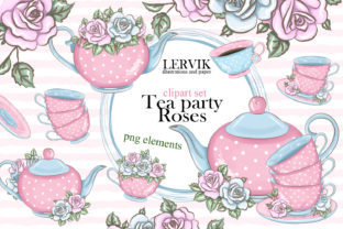 Print on Demand: Love Tea Party Roses Clipart Set Graphic Illustrations By LerVik