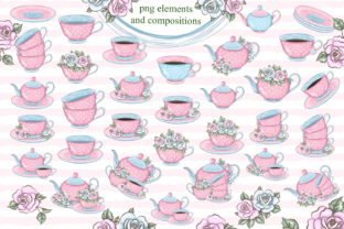 Print on Demand: Love Tea Party Roses Clipart Set Graphic Illustrations By LerVik 2