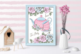 Print on Demand: Love Tea Party Roses Clipart Set Graphic Illustrations By LerVik 3