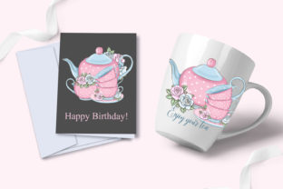 Print on Demand: Love Tea Party Roses Clipart Set Graphic Illustrations By LerVik 4